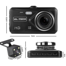 Load image into Gallery viewer, Dash Camera, Dual, 1080P Full HD, Black