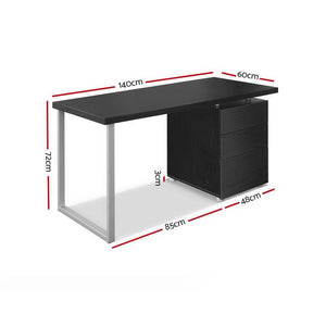 Office Desk, 3 Drawer, Black, 140cm