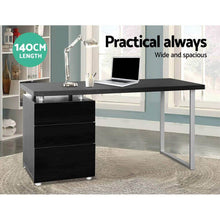 Load image into Gallery viewer, Office Desk, 3 Drawer, Black, 140cm