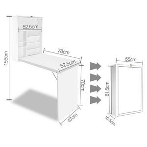 Fold Away Wall Desk, White