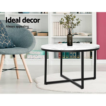 Load image into Gallery viewer, Round Coffee Table, Metal, Marble & Black