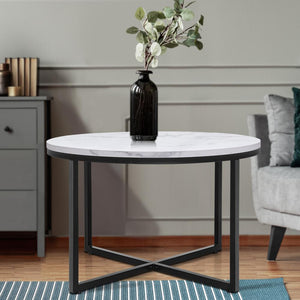 Round Coffee Table, Metal, Marble & Black
