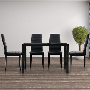 Astra 5-Piece Dining Set, Black