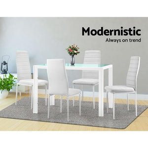 Astra 5-Piece Dining Set, White