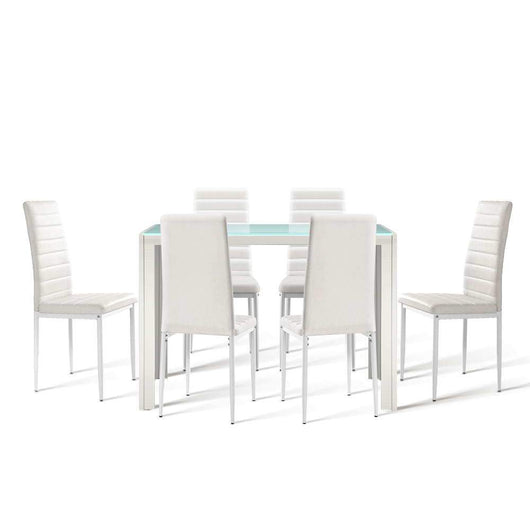 Artiss Astra 7 Piece Dining Table And Chairs Dining Set Tempered