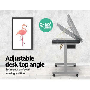 Adjustable Drawing Desk & Drawers, Grey