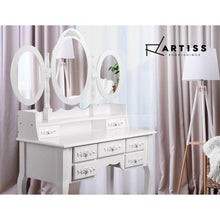 Load image into Gallery viewer, Dressing Table & Stool, 7 Drawer, White