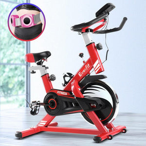 Exercise Spin Bike,  with Drink Holder, Red