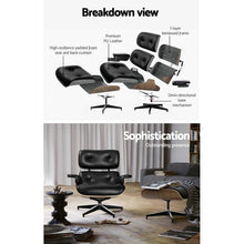 Load image into Gallery viewer, Eames Recliner Armchair, Leather, Black