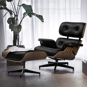 Eames Recliner Armchair, Leather, Black