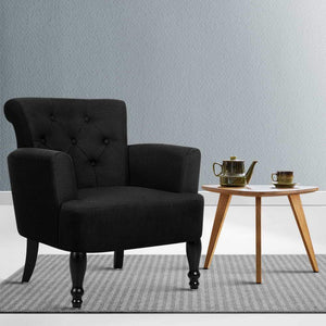 Lorraine Wingback Armchair, Upholstered, Black