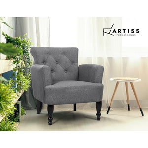 Lorraine Wingback Armchair, Upholstered, Grey