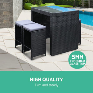 Outdoor Bar Table & Stools Set, Black, 4 Seater