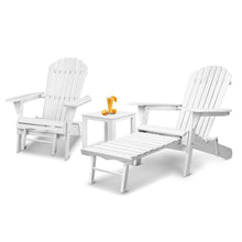 Load image into Gallery viewer, Gardeon 3 Piece Outdoor Adirondack Lounge Beach Chair Set - White