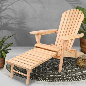 Deck Chair Lounger, Ottoman, Wooden Natural