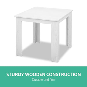 Outdoor Side Table, Wooden, White