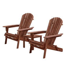 Load image into Gallery viewer, Gardeon 3PC Outdoor Setting Beach Chairs Table Wooden Adirondack Lounge Garden