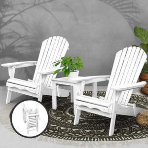 Outdoor Setting, 3 Piece, Wooden, White