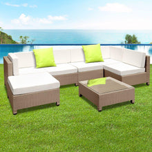 Load image into Gallery viewer, Hawaii 6 Seater PE Rattan Outdoor Lounge Set- Brown