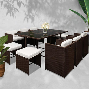 Capetown Outdoor Dining Set, 10 Seater, Brown & White