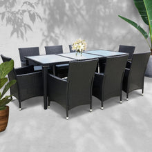 Load image into Gallery viewer, Rattan Outdoor Dining Set, 8 Seater, Black