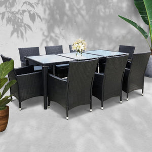 Rattan Outdoor Dining Set, 8 Seater, Black