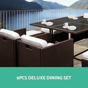 Hawaii Outdoor Dining Set, 9 Seater, Brown & White