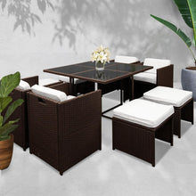 Load image into Gallery viewer, Hawaii Outdoor Dining Set, 9 Seater, Brown & White