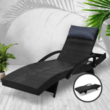 Load image into Gallery viewer, Sun Lounger, Wicker, Black