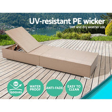 Load image into Gallery viewer, Wicker Sun Lounger with 3 Cover Sets, Natural Brown