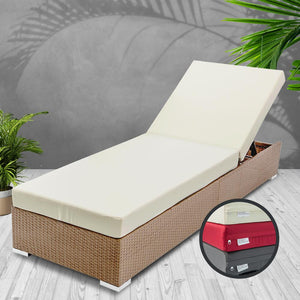 Wicker Sun Lounger with 3 Cover Sets, Natural Brown