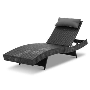 Gardeon Outdoor Wicker Sun Lounge - Black