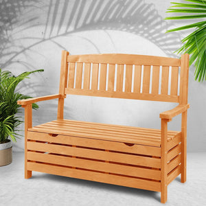 Outdoor Storage Bench, Wooden, 2 Seater