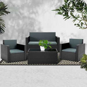 Outdoor Lounge & Table Set, 4 Seater, Wicker, Black