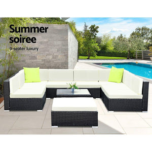 Outdoor Sofa Lounge Set, 10 Piece, Wicker