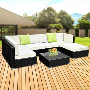 Outdoor Sofa Lounge Set, 7 Piece, Wicker