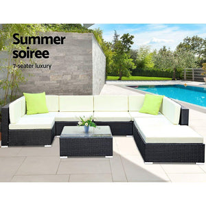 Outdoor Sofa Lounge Set, 8 Piece, Wicker