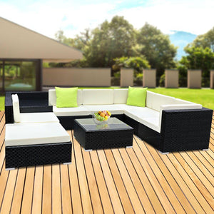 Outdoor Sofa Lounge Set, 9 Piece, Wicker