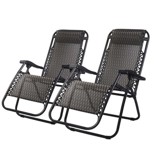 Zero Gravity Chairs, Reclining, Folding, Outdoor, Grey (Set of 2)