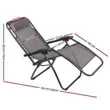 Load image into Gallery viewer, Zero Gravity Chairs, Reclining, Folding, Outdoor, Grey (Set of 2)