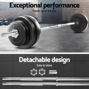 Barbell Bar Set, Steel, 3 Piece, Chrome, 168cm