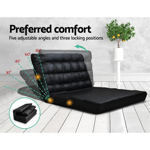 Huffel Sofa Bed, Leather, Black, Double