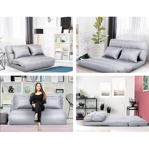 Floor Lounge 2 Seater, Recliner, Folding, Fabric, Grey