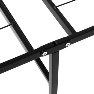 Foldable Bed Frame, Metal, Black, Double