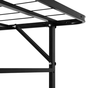 Foldable Bed Frame, Metal, Black, Single