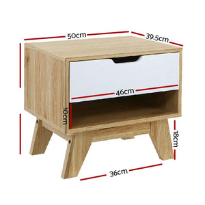 Arden Bedside Table, w/ Drawer White
