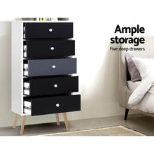Load image into Gallery viewer, Scandinavian Chest of 5 Drawers, Black & White