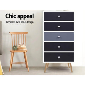 Scandinavian Chest of 5 Drawers, Black & White