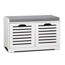 Load image into Gallery viewer, Artiss Fabric Shoe Bench with Drawers - White & Grey