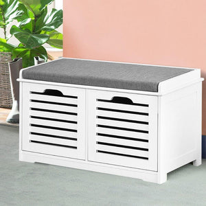 Shoe Bench, Fabric, White & Grey